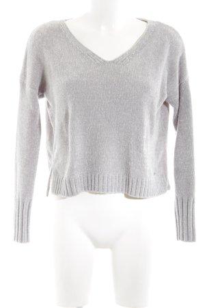 Hollister V-Ausschnitt-Pullover hellgrau Kuschel-Optik
