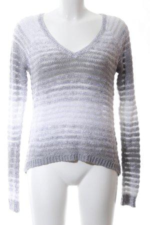Hollister V-Ausschnitt-Pullover weiß-hellgrau Allover-Druck Casual-Look