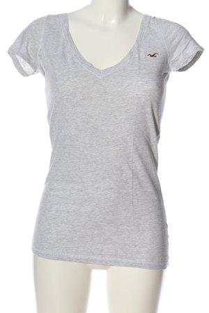 Hollister V-Ausschnitt-Shirt hellgrau meliert Casual-Look