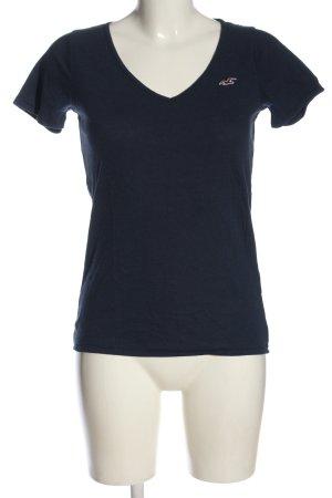 Hollister T-shirt col en V bleu style décontracté