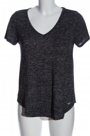 Hollister V-Neck Shirt black-white flecked casual look