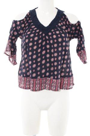 Hollister V-Ausschnitt-Shirt Allover-Druck Casual-Look