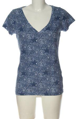 Hollister T-shirt col en V bleu-blanc imprimé allover style décontracté