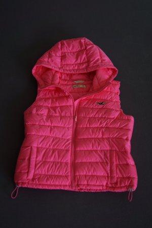 Holister Hooded Vest neon pink viscose