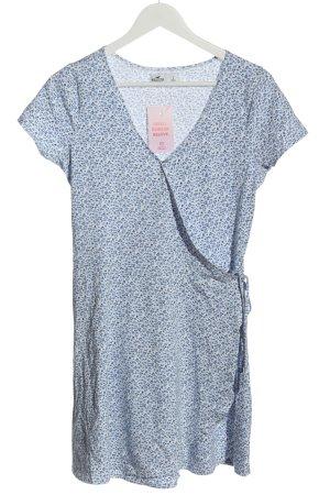 Hollister Robe portefeuille bleu-blanc imprimé allover style décontracté