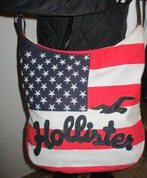 Hollister XXL Tasche Bag Schultertasche Beuteltasche weiß rot blau american Flag Flagge textiles Material Streifen Logo