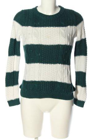 Hollister Zopfpullover grün-weiß Streifenmuster Casual-Look