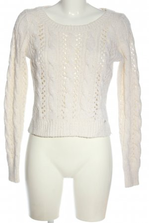 Hollister Cable Sweater white cable stitch casual look