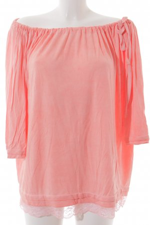 Holly Golightly Carmenshirt neonpink Spitzenbesatz