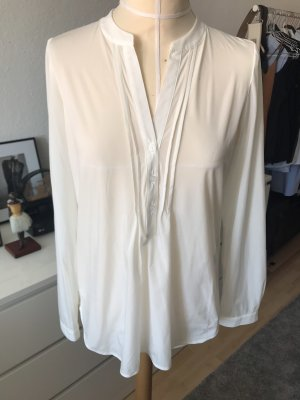 Holly Golightly Langarm Bluse in Weiß Creme mit Biesen