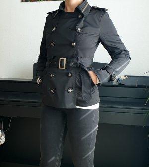 Hollys Mantel Übergängsjacke Kurzmäntel knopfdetails Kurzer Trenchcoat schwarz mit Gürtel