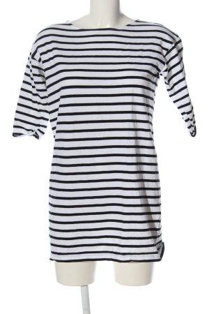 Holy Kurzarm-Bluse weiß-schwarz Streifenmuster Casual-Look