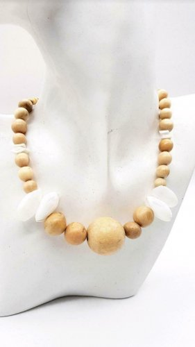 Handmade Collier de perles marron clair-blanc cassé