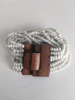 Brazalete de perlas blanco-marrón