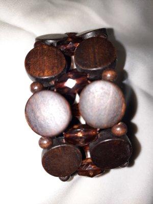 True Vintage Brazalete de perlas marrón oscuro