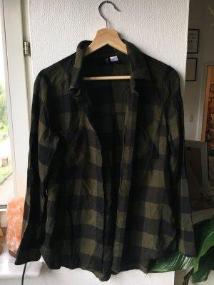 H&M Camisa de leñador negro-verde oscuro tejido mezclado