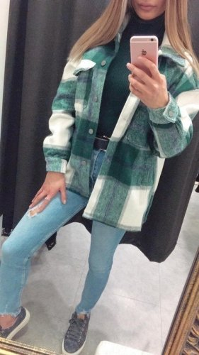 Holzfäller Hemd Jacke Oversized Karo Muster Bluse S/M grün weiß