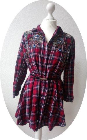 Holzfäller-Kleid aufwendig mit Perlen bestickt, ZARA