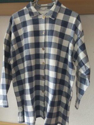 Koszula w kratę w kolorze białej wełny-ciemnoniebieski Bawełna