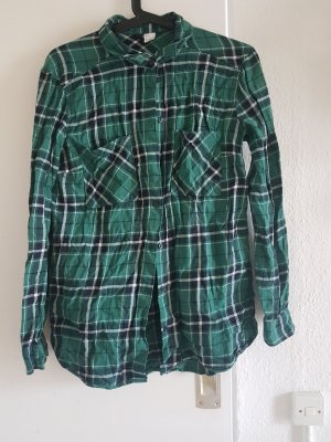 H&M Divided Koszula w kratę zielony Bawełna