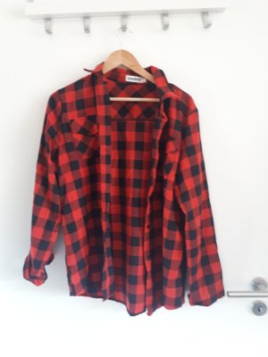Abollria Camisa de franela negro-carmín