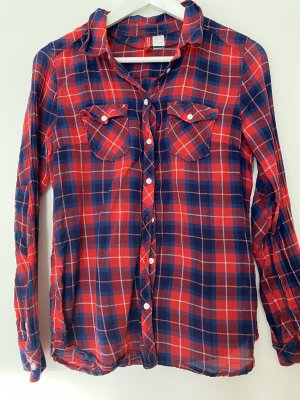 H&M Camicia da boscaiolo rosso scuro-blu scuro