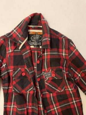 Superdry Lumberjack Shirt black-dark red cotton