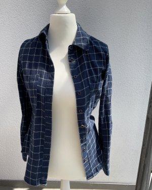Houthakkershemd wit-blauw