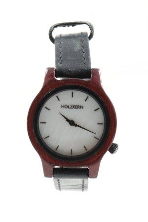 Holzkern Montre avec bracelet en cuir rouge-noir style décontracté