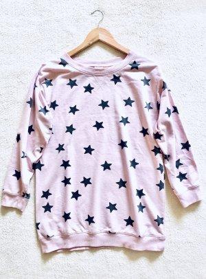Homewear Pyjama Schlaf Oversize Pulli Sweater Sterne rosa grau Gr. XS