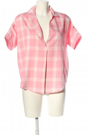 Honey Punch Kurzarm-Bluse pink-weiß Allover-Druck Casual-Look