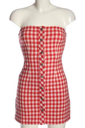 Honey Punch schulterfreies Kleid rot-wollweiß Karomuster Casual-Look