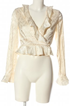 Honey Punch Wraparound Blouse cream casual look