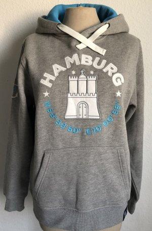 53 Grad Hamburg Pull à capuche gris clair-bleuet