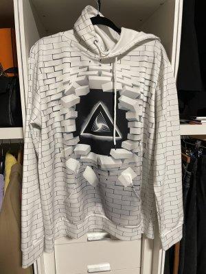 Sweter z kapturem biały-czarny