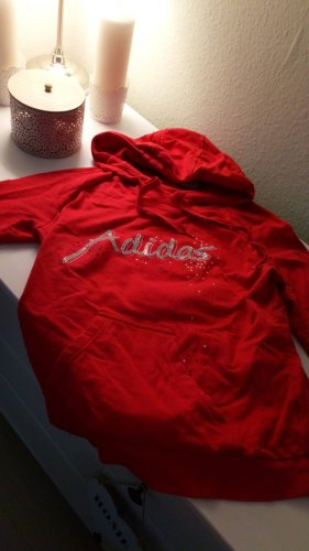 Adidas Sweter z kapturem czerwony Bawełna