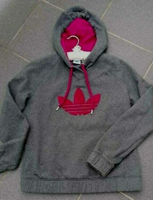 Adidas Felpa con cappuccio grigio scuro-magenta Cotone