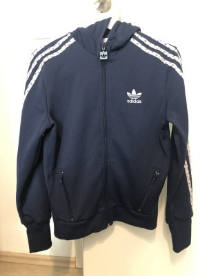 Adidas Kurtka z kapturem biały-ciemnoniebieski