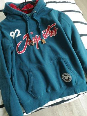 Sweter z kapturem niebieski neonowy