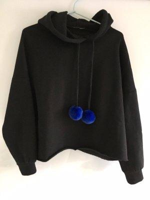 Zara Sweatshirt met capuchon zwart-blauw