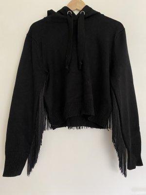 Hoodie mit Fransen Zara Gr. M schwarz strick