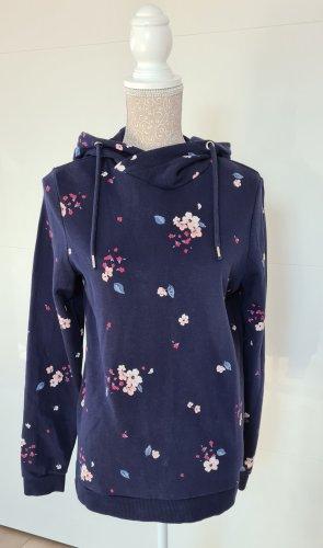 Hoodie - Pullover - Größe 40 L - Dunkelblau - Blumenmuster - Kapuze - Neuwertig