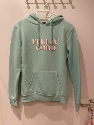 Hoodie Sweater Pullover mint grün Aufschrift feelin good
