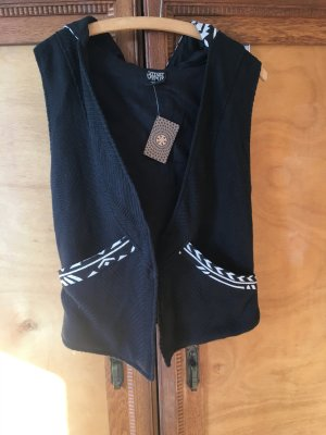Hooded Vest black-white cotton