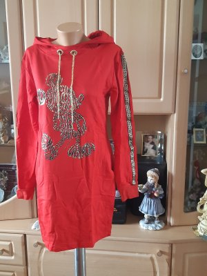 Hooded Dress brick red cotton