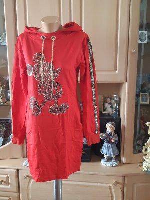 Robe à capuche rouge brique coton