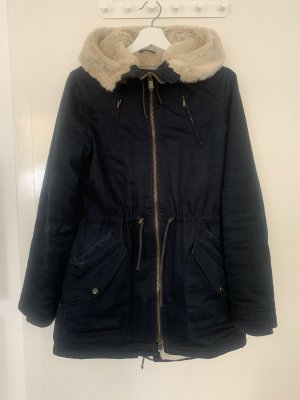 Hemp hoodlamb Kurtka zimowa ciemnoniebieski-jasnobeżowy