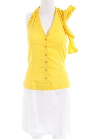 HOPE Abito con corpetto giallo-bianco stile casual