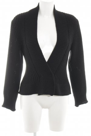 Hopsack Strickjacke schwarz Casual-Look