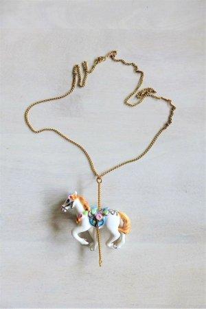 Hopskip & Flutter Kette Anhänger Karussell Pferd Porzellan weiß gold neu